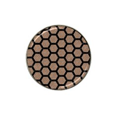 Hexagon2 Black Marble & Brown Colored Pencil (r) Hat Clip Ball Marker by trendistuff