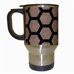 Hexagon2 Black Marble & Brown Colored Pencil (r) Travel Mug (white) by trendistuff