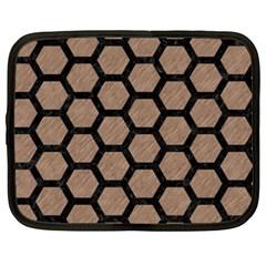 Hexagon2 Black Marble & Brown Colored Pencil (r) Netbook Case (xxl) by trendistuff