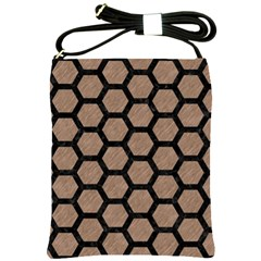 Hexagon2 Black Marble & Brown Colored Pencil (r) Shoulder Sling Bag by trendistuff