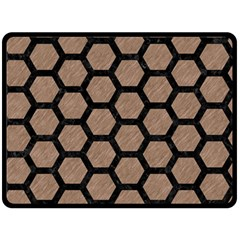 Hexagon2 Black Marble & Brown Colored Pencil (r) Double Sided Fleece Blanket (large) by trendistuff