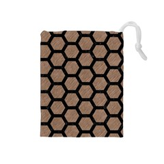 Hexagon2 Black Marble & Brown Colored Pencil (r) Drawstring Pouch (medium) by trendistuff