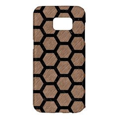 Hexagon2 Black Marble & Brown Colored Pencil (r) Samsung Galaxy S7 Edge Hardshell Case by trendistuff