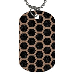 Hexagon2 Black Marble & Brown Colored Pencil Dog Tag (one Side) by trendistuff