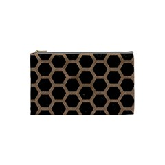 Hexagon2 Black Marble & Brown Colored Pencil Cosmetic Bag (small) by trendistuff