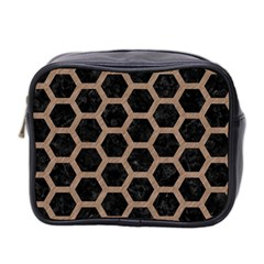 Hexagon2 Black Marble & Brown Colored Pencil Mini Toiletries Bag (two Sides) by trendistuff