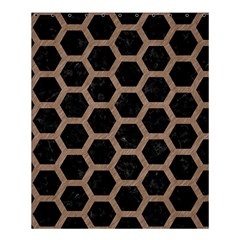 Hexagon2 Black Marble & Brown Colored Pencil Shower Curtain 60  X 72  (medium) by trendistuff