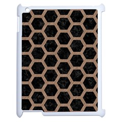 Hexagon2 Black Marble & Brown Colored Pencil Apple Ipad 2 Case (white) by trendistuff