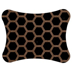 Hexagon2 Black Marble & Brown Colored Pencil Jigsaw Puzzle Photo Stand (bow) by trendistuff