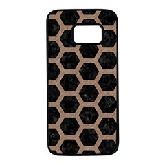 Hexagon2 Black Marble & Brown Colored Pencil Samsung Galaxy S7 Black Seamless Case by trendistuff