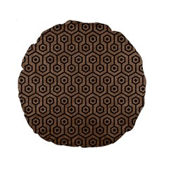 Hexagon1 Black Marble & Brown Colored Pencil (r) Standard 15  Premium Round Cushion  by trendistuff