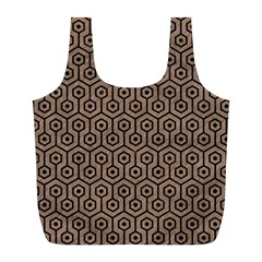 Hexagon1 Black Marble & Brown Colored Pencil (r) Full Print Recycle Bag (l) by trendistuff
