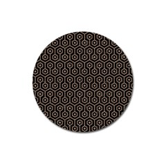 Hexagon1 Black Marble & Brown Colored Pencil Magnet 3  (round) by trendistuff