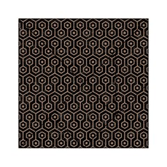 Hexagon1 Black Marble & Brown Colored Pencil Acrylic Tangram Puzzle (6  X 6 ) by trendistuff