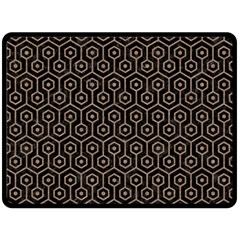 Hexagon1 Black Marble & Brown Colored Pencil Double Sided Fleece Blanket (large) by trendistuff