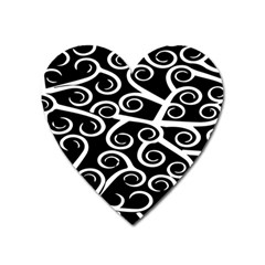 Koru Vector Background Black Heart Magnet by Mariart