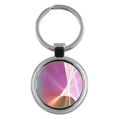 Light Means Net Pink Rainbow Waves Wave Chevron Key Chains (round)  by Mariart