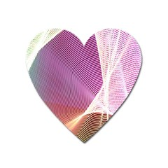 Light Means Net Pink Rainbow Waves Wave Chevron Heart Magnet by Mariart