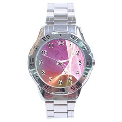 Light Means Net Pink Rainbow Waves Wave Chevron Stainless Steel Analogue Watch by Mariart