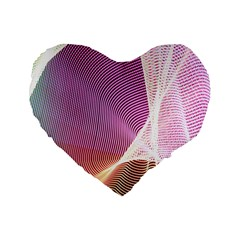 Light Means Net Pink Rainbow Waves Wave Chevron Standard 16  Premium Flano Heart Shape Cushions by Mariart