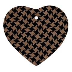 Houndstooth2 Black Marble & Brown Colored Pencil Ornament (heart) by trendistuff