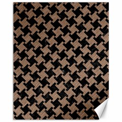 Houndstooth2 Black Marble & Brown Colored Pencil Canvas 11  X 14  by trendistuff