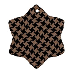Houndstooth2 Black Marble & Brown Colored Pencil Snowflake Ornament (two Sides) by trendistuff
