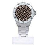 HOUNDSTOOTH2 BLACK MARBLE & BROWN COLORED PENCIL Plastic Nurses Watch Front