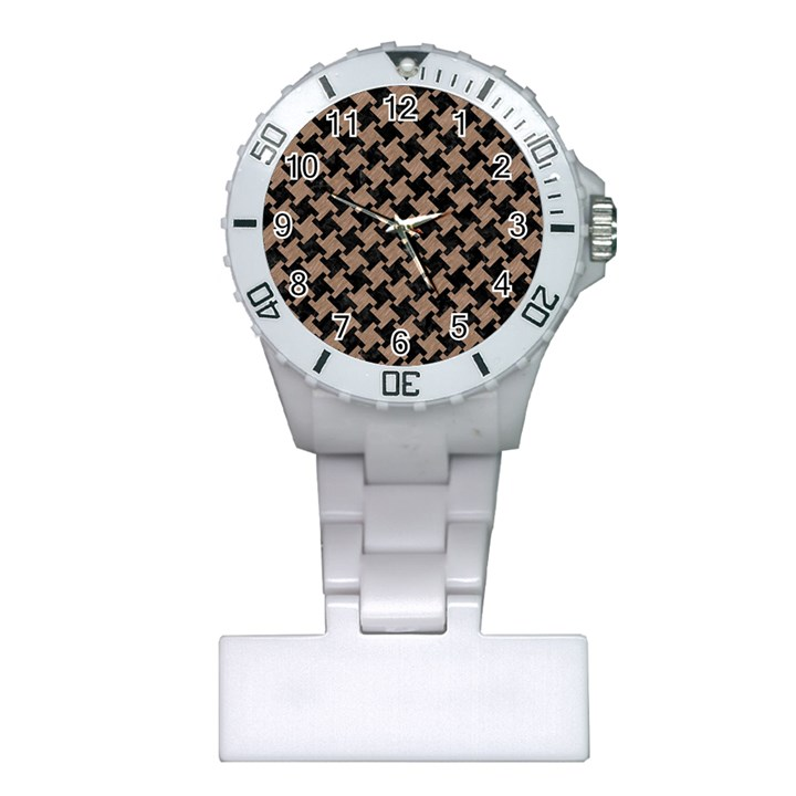 HOUNDSTOOTH2 BLACK MARBLE & BROWN COLORED PENCIL Plastic Nurses Watch
