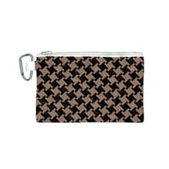 Houndstooth2 Black Marble & Brown Colored Pencil Canvas Cosmetic Bag (small) by trendistuff