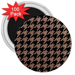 Houndstooth1 Black Marble & Brown Colored Pencil 3  Magnet (100 Pack) by trendistuff