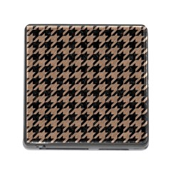 Houndstooth1 Black Marble & Brown Colored Pencil Memory Card Reader (square) by trendistuff