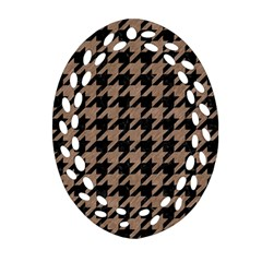 Houndstooth1 Black Marble & Brown Colored Pencil Oval Filigree Ornament (two Sides) by trendistuff