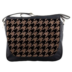 Houndstooth1 Black Marble & Brown Colored Pencil Messenger Bag by trendistuff