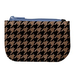 Houndstooth1 Black Marble & Brown Colored Pencil Large Coin Purse by trendistuff
