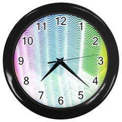 Light Means Net Pink Rainbow Waves Wave Chevron Green Wall Clocks (black) by Mariart