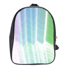 Light Means Net Pink Rainbow Waves Wave Chevron Green School Bags (xl)  by Mariart
