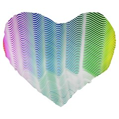 Light Means Net Pink Rainbow Waves Wave Chevron Green Large 19  Premium Heart Shape Cushions by Mariart