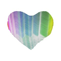 Light Means Net Pink Rainbow Waves Wave Chevron Green Standard 16  Premium Flano Heart Shape Cushions by Mariart