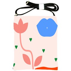 Lip Sexy Flower Tulip Heart Pink Red Blue Green Love Shoulder Sling Bags by Mariart