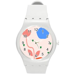 Lip Sexy Flower Tulip Heart Pink Red Blue Green Love Round Plastic Sport Watch (m) by Mariart