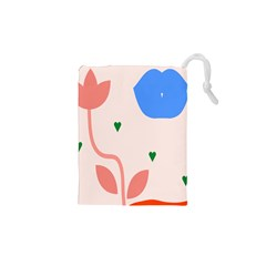 Lip Sexy Flower Tulip Heart Pink Red Blue Green Love Drawstring Pouches (xs)  by Mariart