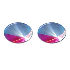 Light Means Net Pink Rainbow Waves Wave Chevron Red Cufflinks (oval) by Mariart
