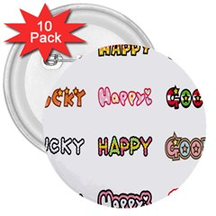 Lucky Happt Good Sign Star 3  Buttons (10 Pack)  by Mariart