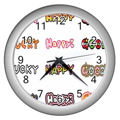 Lucky Happt Good Sign Star Wall Clocks (silver)  by Mariart
