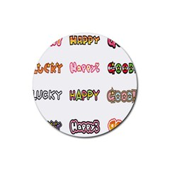 Lucky Happt Good Sign Star Rubber Coaster (round)  by Mariart