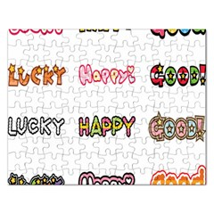 Lucky Happt Good Sign Star Rectangular Jigsaw Puzzl by Mariart