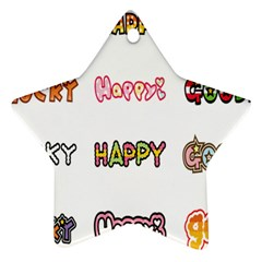 Lucky Happt Good Sign Star Star Ornament (two Sides) by Mariart