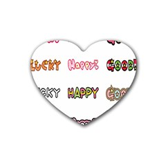 Lucky Happt Good Sign Star Heart Coaster (4 Pack)  by Mariart