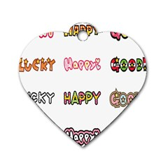Lucky Happt Good Sign Star Dog Tag Heart (two Sides) by Mariart